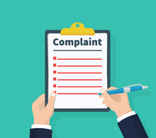 Complaint Concept. Claim Petition. Man Hold Clipboard In Hand Wrote A Complaint. Flat Design, Vector Illustration On Green Background.
