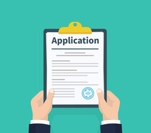 Application Form. Man With Clipboard In His Hand Fills In The Form Of Employment. Write Documents. Analyzing Personnal Resume. Flat Design, Vector Illustration On Green Background.