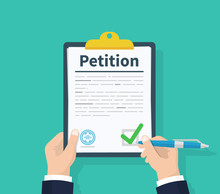 Petition Concept. Man Hold Clipboard In Hand Writes Petition Concept. Diagrams. Flat Design, Vector Illustration On Background.