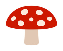 Amanita Muscaria Or Fly Agaric Hallucinogenic Toadstool Mushroom Flat Red Vector Icon For Apps And Websites