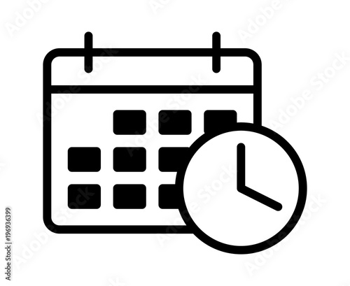 Photo Business appointment calendar with time clock line art vector icon for schedulin