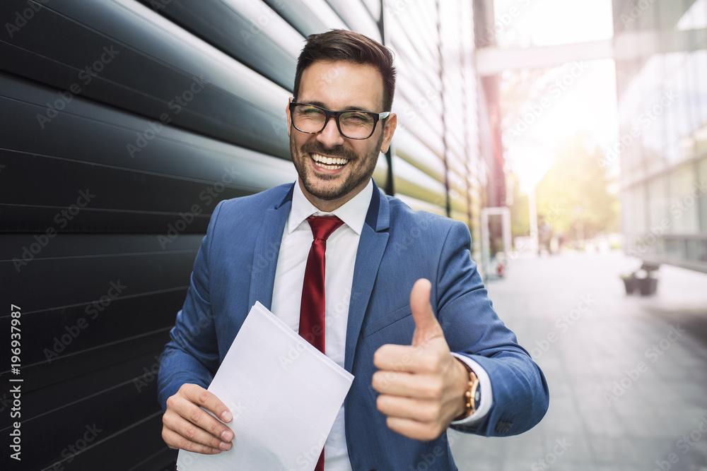 Fototapeta Smiling businessman