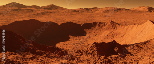 Garden Poster Brown Mars - red planet - landscape with huge crater from impact and mountains in the distance