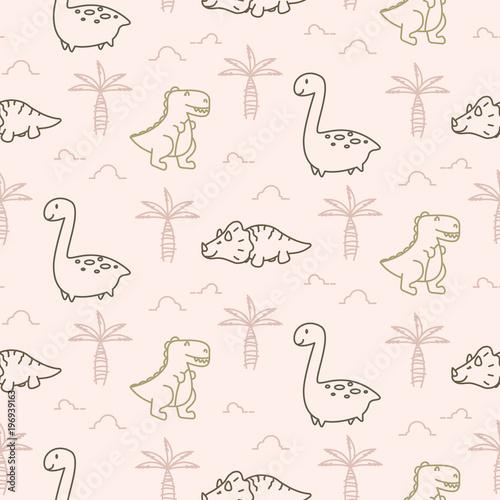 Cotton fabric Cute dinosaurs seamless vector pattern.