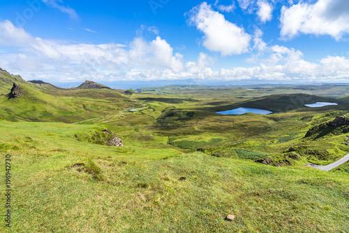 Keuken foto achterwand Olijf Quiraing landscape during summer in a sunny day, Isle of Skye, Scotland, Britain