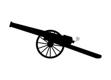 Old, Antique Cannon Silhouette