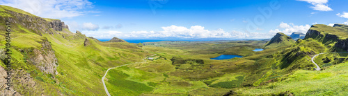 Fotografie, Obraz Wide panorama of Quiraing, one of the most famous landscape of Isle of Skye, Sco