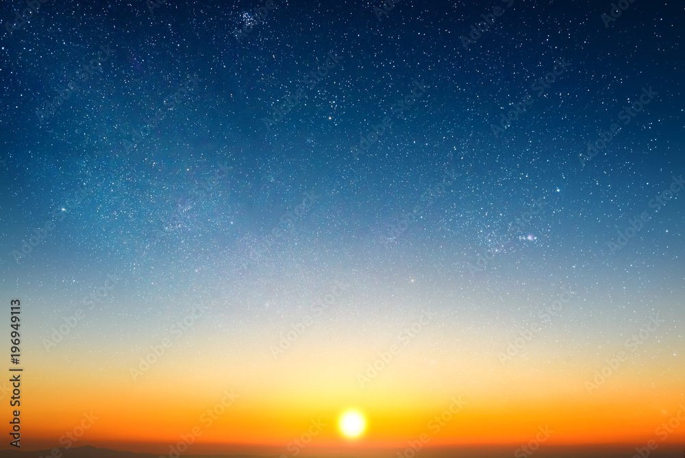 Fototapety, obrazy: sunrise in morning sky with star and milky way background