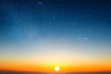 Sunrise In Morning Sky With Star And Milky Way Background