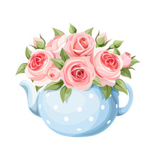 Vector Bouquet Of Pink English...