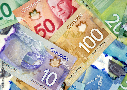 Fotografia Canadian currency bank notes