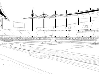 Football Soccer Stadium Vector Isolated On White Background