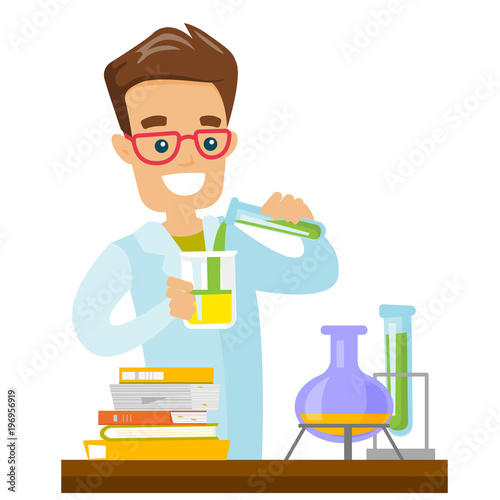 caucasian white student carrying out laboratory experiment young happy student working with a microscope in a chemistry class vector cartoon illustration isolated on white background square layout buy this stock vector caucasian white student carrying out