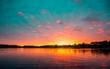canvas print picture - Minnesota Lake Sunset