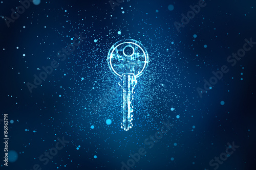 Digital key in keyhole in information security concept background, illustration Tapéta, Fotótapéta