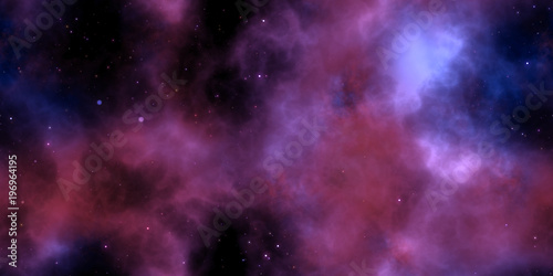 Lilac Starry Clouds on Night Sky Galaxy Background. Abstract Cosmos Infinity Texture. 3D Rendering. 3D Illustration.