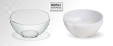 Glass And Ceramic Bowl Set Vector Illustration. Realistik Bowl On Transparent Backgraund. 3d