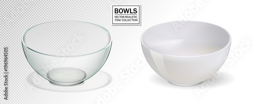 Photo Glass and ceramic bowl set vector illustration
