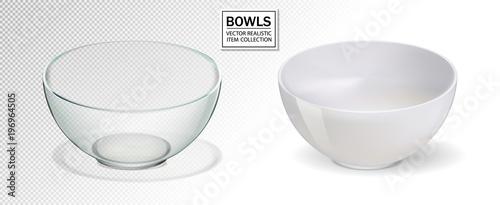 Valokuvatapetti Glass and ceramic bowl set vector illustration