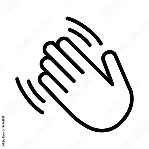 Photo Hand wave / waving hi or hello gesture line art vector icon for apps and website