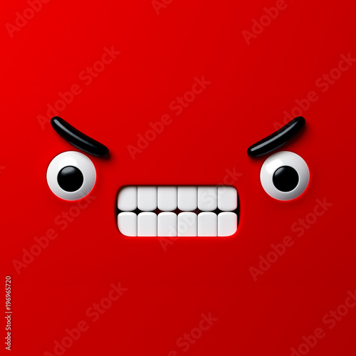 3d Render Abstract Emotional Face Icon Angry Character Screaming