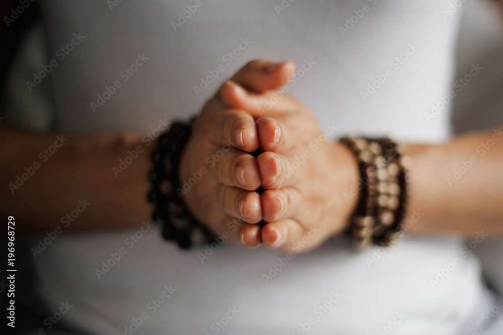 Fototapety, obrazy: Woman hand yoga pose. Practicing meditation and praying indoors.