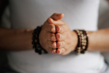 Woman Hand Yoga Pose. Practici...