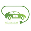 Electric car and Electrical charging station green symbol