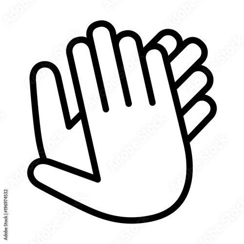 Hands clapping, applauding or ovation applause gesture line art icon for apps an Canvas Print