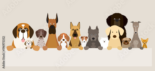 Group of Dog Breeds Holding Banner, Various Size, Front View