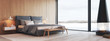 Leinwandbild Motiv modern bedroom in a apartment with view. 3d rendering