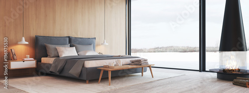 Foto  modern bedroom in a apartment with view. 3d rendering