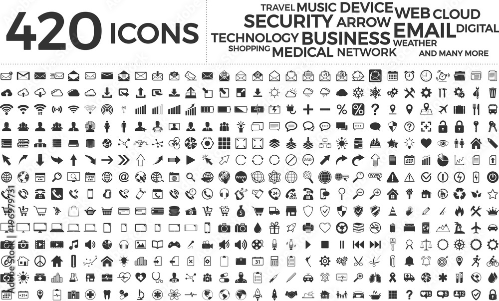 Fototapety, obrazy: Black web business technology icons set