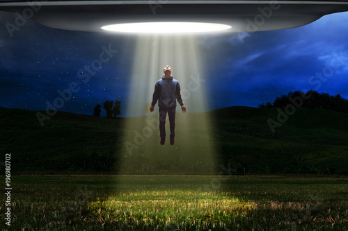 Foto op Canvas UFO Ufo alien abduction