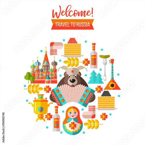 Welcome to Russia. Travelling to Russia. Vector illustration. Tablou Canvas