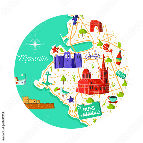 Map Of France Cartoon.France Marseille Vector City Map Illustration Cartoon Sightseeing