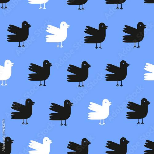 Materiał do szycia Funny cartoon ptaków wzór na niebieskim tle. Ilustracja wektorowa.