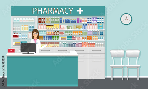 Fotografía  Pharmacy counter with pharmacist