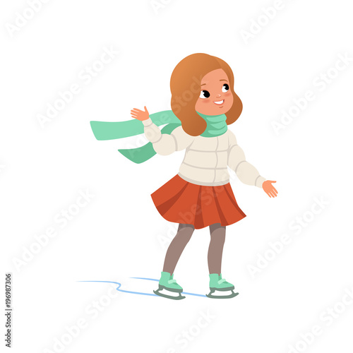 Obraz na plátně Lovely girl in warm clothes ice skating vector Illustration on a white backgroun