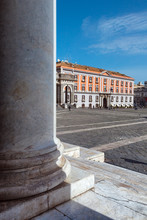 Naples (Italy) - Piazza Plebiscito, The Main Square In The Historic Centre Of Naples. Prefecture Palace Seen By The Colonnade Of The Church Of San Francesco Di Paola