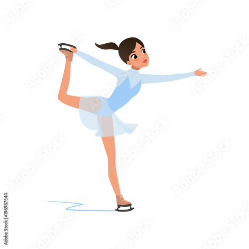 Fotografía Beautiful figure skater girl in short blue dress skating, female athlete practic