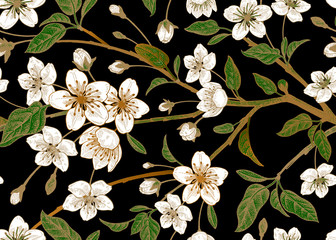 Panel Szklany Podświetlane Vintage Floral vintage seamless pattern with Japanese cherry.