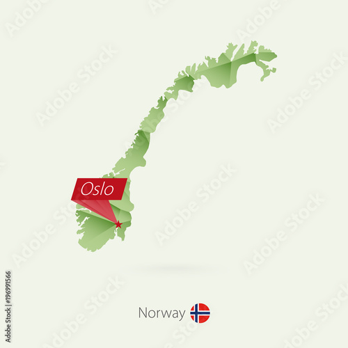 Photo  Green gradient low poly map of Norway with capital Oslo