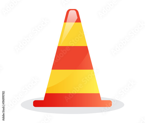 Striped traffic cone icon isolated vector illustration on