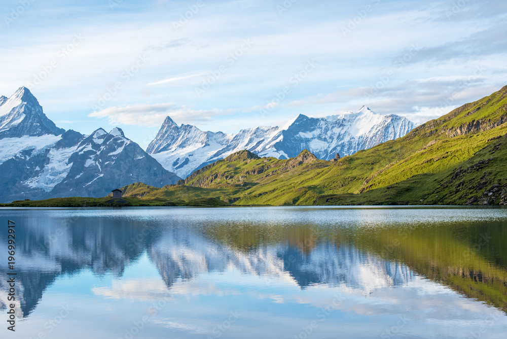 Fototapety, obrazy: A magical landscape with a lake in the mountains in the Swiss Alps, Europe. Wetterhorn, Schreckhorn, Finsteraarhorn et Bachsee. ( relaxation, harmony, anti-stress - concept).