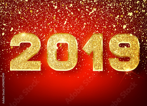 2019 Happy New Year Gold Numbers Design Of Greeting Card Falling Shiny Confetti