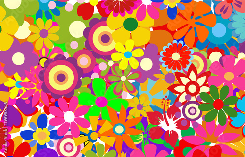 Fotografie, Tablou  colorful spring flowers vector illustration