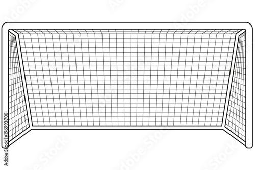 Fotografia, Obraz  Black and white soccer gate icon.