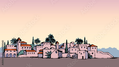 City in a desert. Vector drawing Wallpaper Mural