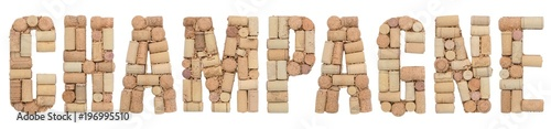 Fotografía  Wine region of France Champagne made from wine corks Isolated on white backgroun